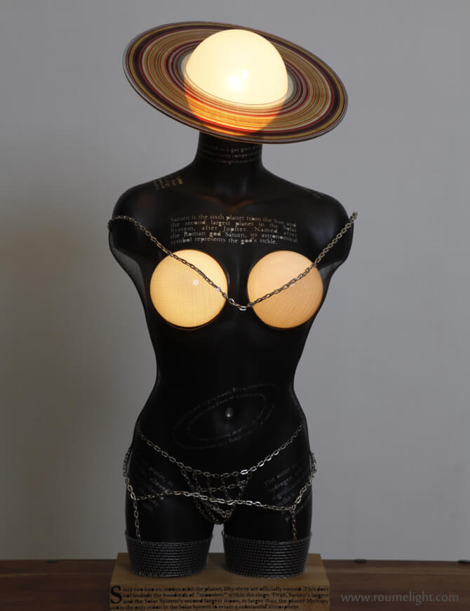 Detailed view of the femme-saturne light by roumelight